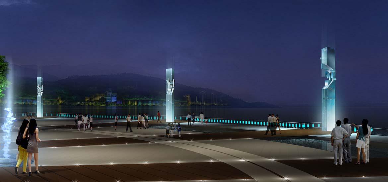 滨江广场夜景照明工程